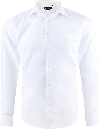 Camisa slim fit blanca para hombre con mangas largas: Amazon.es: Ropa y accesorios