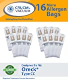 16 Oreck Type CC Allergen Filtration Vacuum Cleaner Bags – To Fit Style CC, and ALL XL Upright Models – Compare to Oreck Part # CCPK8, CCPK8DW; Designed and Engineered By Crucial Vacuum, Appliances for Home