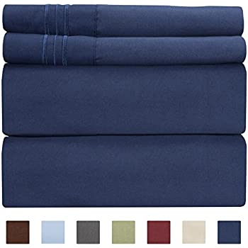 Queen Size Sheet Set - 4 Piece - Hotel Luxury Bed Sheets - Extra Soft - Deep Pockets - Easy Fit - Breathable & Cooling - Wrinkle Free - Comfy - Navy Blue Bed Sheets - Queens Royal Sheets - PC