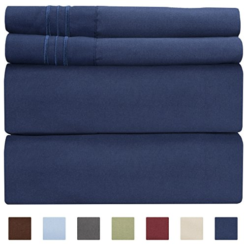 Full Size Sheet Set - 4 Piece - Hotel Luxury Bed Sheets - Extra Soft - Deep Pockets - Easy Fit - Breathable & Cooling - Wrinkle Free - Comfy – Navy Blue Bed Sheets – Fulls Royal Sheets – 4 PC (Basic Fine Knit)