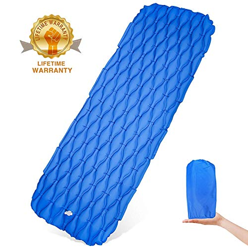 wuayur Ultralight Sleeping Pad Inflatable Camping Mat for Backpacking,Traveling and Hiking-Comfortable Air Cells Design for Better Stability Support