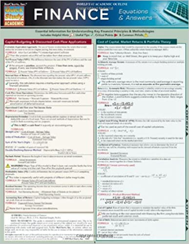Finance Equations and Answers: Reference Guide (Quickstudy: Academic)