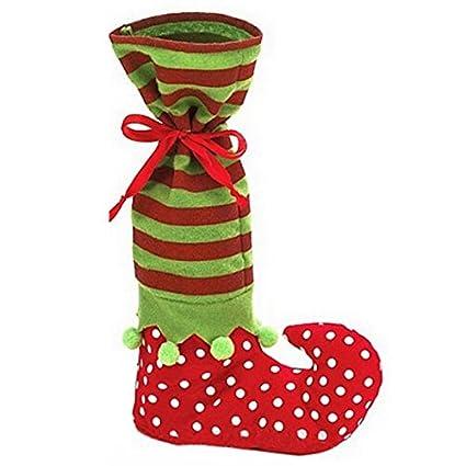 Navidad calcetín de Papá Noel de Navidad calcetines de botas de elfo mesa pierna cubre bolsa