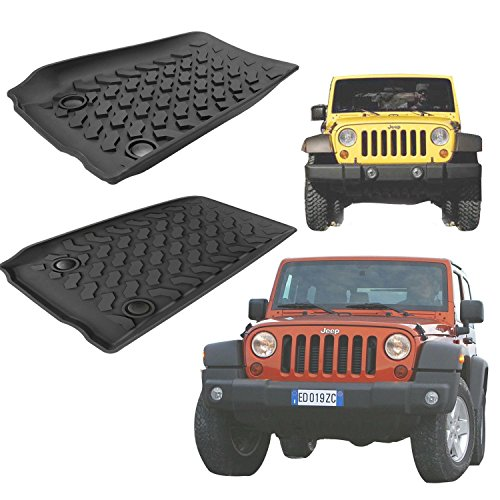 Asatr 3-Piece Slush Style Rubber Mats Jeep Wrangler Four Door All-Weather Floor Mats for Auto SUV Trucks (Jeep Wrangler 4 Piece)