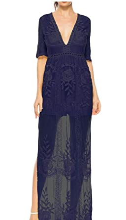 92c21b066cf0 Yayu Women s See Through Lace Maxi Romper Dress Short Sleeve Deep V Neck  Dress ...