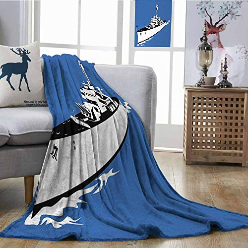 Axbkl Travel Blanket Cartoon Navy Force War Ship Boat Sealife Ocean Themed Animation Like Image Easy to Carry Blanket W57 xL74 Violet Blue White -