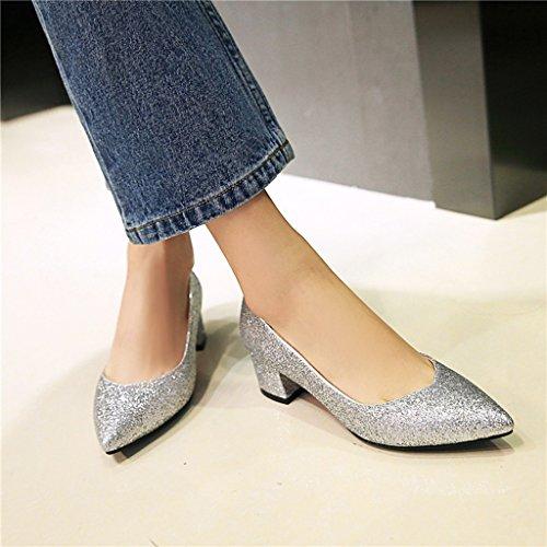 Spesso Scarpe Scarpe Tacco Silver di Paillettes Medio Donna da Panno Tacco Superficiale Tacco Primavera Bocca fTqYxwaCa