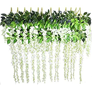12pcs Wisteria Artificial Flowers Wisteria Garland Hanging Silk Flowers Silk Wisteria Vine for Wedding Planning Living Rooms Home Decorating 17