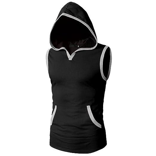 8a055427e4b14 Men s Workout Hooded Tank Tops Bodybuilding Muscle Cut Off T Shirt  Sleeveless Gym Hoodies (M