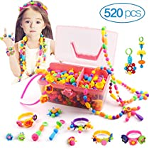 Kidcheer Pop Beads Sets 520PCS+ Jewelry Making Kit for Girls DIY Snap Beads Toys Making Necklace, Bracelet, Hairband and Ring Creativity Arts and Crafts Gifts for Birthday
