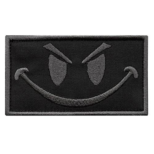 (LEGEEON Subdued Smiley Evil Angry ACU Morale Tactical Military Milspec Tactical ISAF SWAT Sew Iron on Patch)