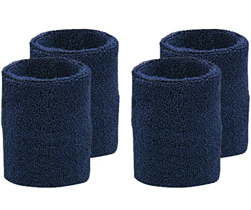 Oldhill 4-Pack Wristbands by Sweat Absorbent Thick Terry Cloth Cotton - Navy