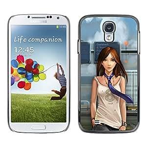 TECHCASE**Cubierta de la caja de protección la piel dura para el ** Samsung Galaxy S4 I9500 ** Woman Girl Tie Animation Drawing Cartoon Art