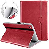 DTTO iPad 9.7 Inch 5th 6th Generation 2018 2017 Case with Apple Pencil Holder - Premium Leather Folio Cover Case for Apple iPad 9.7 inch [Auto Sleep Wake]- Red(Grey Lining)