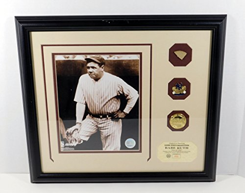 Highland Mint Babe Ruth Photo with Game Used Bat Pin and Coin Framed DA025360