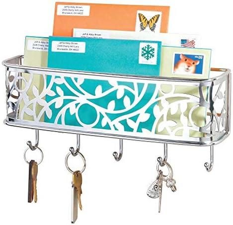 wandmontiertes Schl/üsselboard aus Metall f/ür Eingangsbereich vielseitiges silber mit Briefablage f/ür Post K/üche und B/üro mDesign Schl/üsselbrett mit Ablage