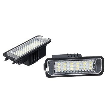 GZLMMY - 2 luces LED para matrícula de Golf 4/5 Passat 3C Limo Lupo Polo 9N con cable universal lámpara de matrícula Bombillas: Amazon.es: Coche y moto