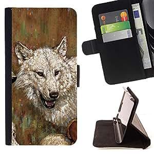 Jordan Colourful Shop - wolf drawing art painting white gray oil watercolor For LG OPTIMUS L90 - < Leather Case Absorci????n cubierta de la caja de alto impacto > -