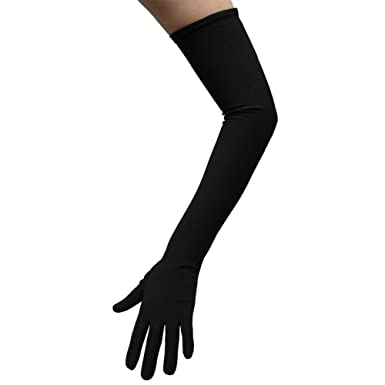 Amazon.com: Black Costume Gloves (Opera Length) ~ Halloween ...