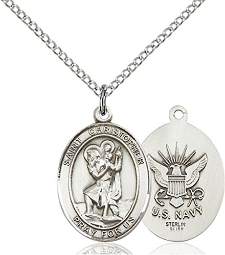 - Sterling Silver Saint Christopher Navy Military Medal Pendant, 3/4 Inch