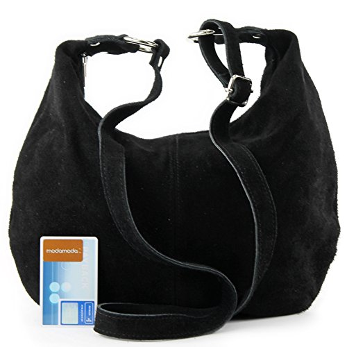 Women's handbag bag leather shopper real bag T02 Italian suede bag Black shoulder dIwZpg