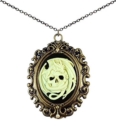 (Yspace Antique Brass Necklace Cameo Vintage Lace Big Pendant Jewelry Deluxe Pouch Gift (Dragon Skull))