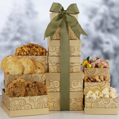 Holiday Gourmet Gold Gift Tower | Christmas Themed Gourmet Food and Treats (Gift Baskets For Office Staff)