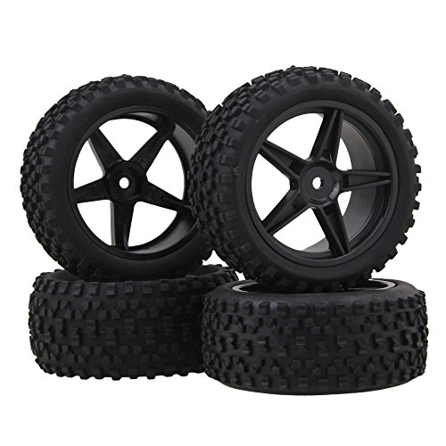 ar Pentagram Plastic Wheel Rims + High Grip Rubber Tires Tyres for RC 1:10 Off-Road Car Buggy Pack of 4 (Rc Wheels Tires)