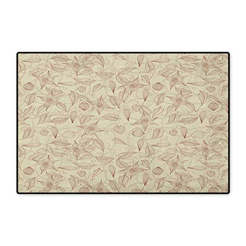 Beige,Door Mats for Floors,Illustration of Retro Unusual Floral Patterns with Complex Line Leaves Flowers Boho Chic,Mat for Tub Doorroom,Beige,Size,24