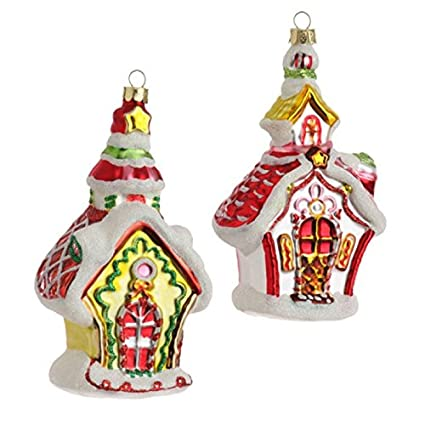 Whimsical Christmas Ornaments.Amazon Com Pair 6 Glass Green Pink Whimsical Gingerbread