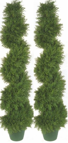 (Silk Tree Warehouse Two 4 Foot 3 Inch Artificial Cypress Spiral Topiary Trees Potted Indoor or Outdoor)