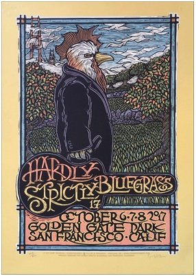 Original Limited Signed - Hardly Strictly Bluegrass Poster Original Limited Silkscreen Signed Gary Houston