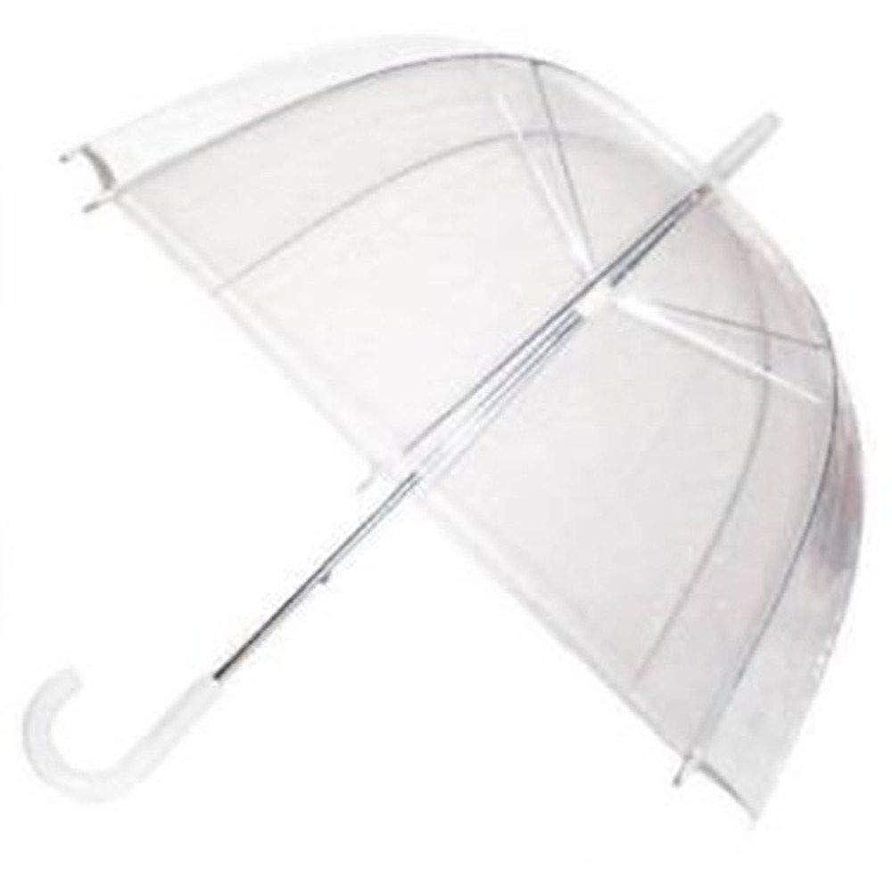 7ce435bcb GadgetKing Rain Umbrella Dome Birdcage Clear Transparent PVC Plastic  Wedding See Through Lightweight Bubble White Handle Brolly: Amazon.co.uk:  Clothing