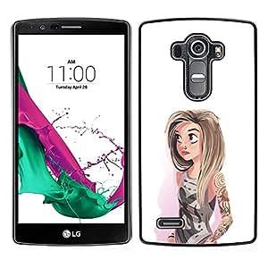 [Neutron-Star] Snap-on Series Teléfono Carcasa Funda Case Caso para LG G4 [Girl Watercolor Hipster White Fashion]