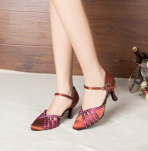 Minitoo - Chaussures De Danse En Cuir Pour Les Femmes, Rouge, Taille 35