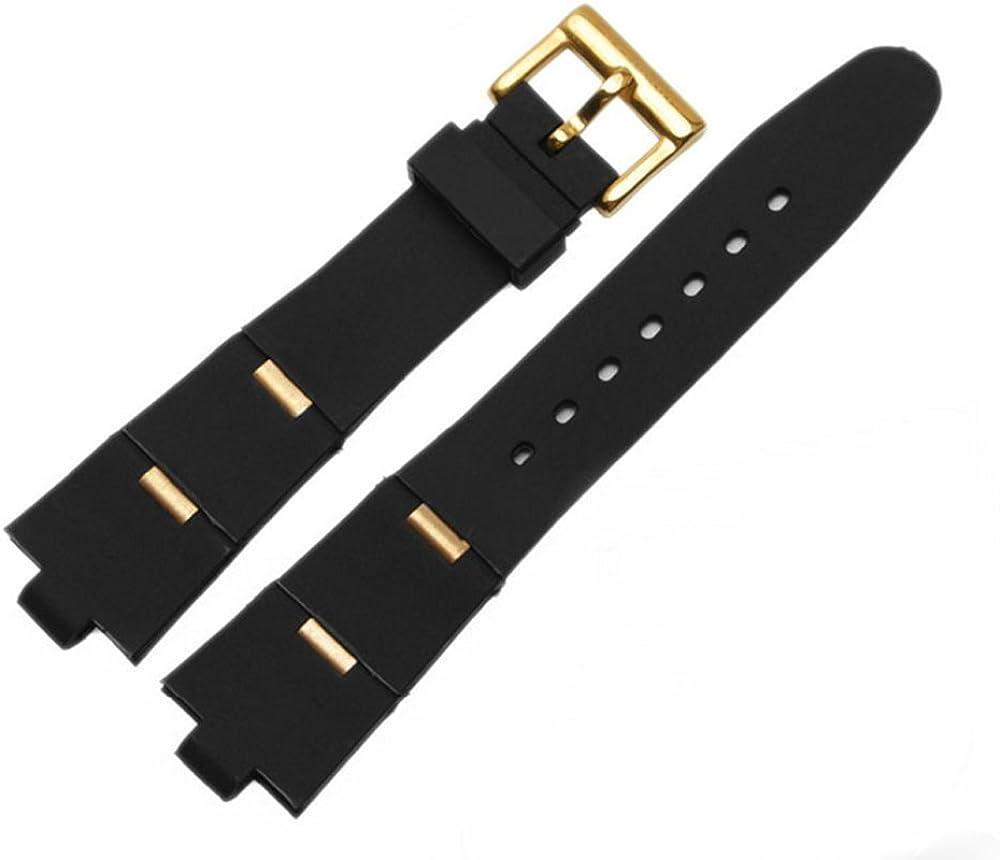 [Richie Strap] Correa de reloj de goma negra para buceador de 24 mm x 8 mm para Bvlgari Divas Dream