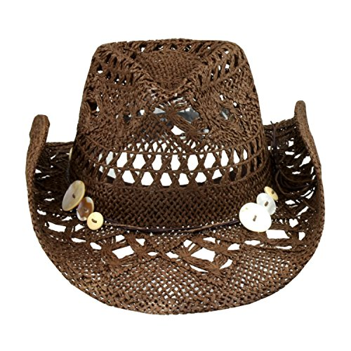Brown Boho Hip Cowgirl Hat, Lace-Look Straw w/ Raffia Band - Shapeable Brim (Womens Raffia)