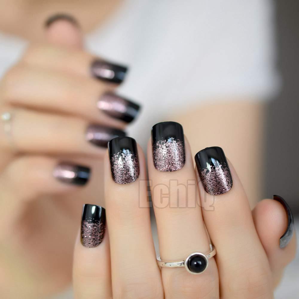 24 Stiletto - Uñas postizas de acrílico con purpurina francesa para uñas postizas, redondas, color negro: Amazon.es: Belleza