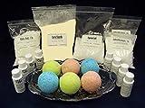 Complete Bath Bomb Starter Kit, 2 lbs. Baking Soda, 1 Lb. Citric, 1 lb. Corn Starch, 1 lb. Epsom Salt, 4 x 1 oz. fragrances, 4 x 1 oz. FD&C = Strawberry Red, Lemon Yellow, Sky Blue, Mint Green. Molds not included.