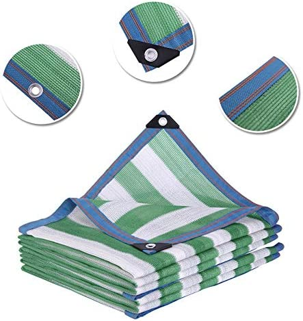XIAOXIAO シェードネット85%防水シェードセイルオーニングガーデンカバーテラス(色:緑と白のストライプサイズ:4x4M) (Size : 6x8m)