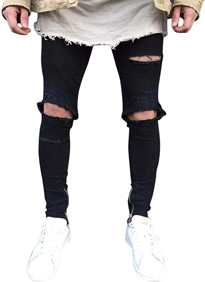 Jeans De Hombre Slim Fit Pantalones Chándal De Skinny Descoloridos ...