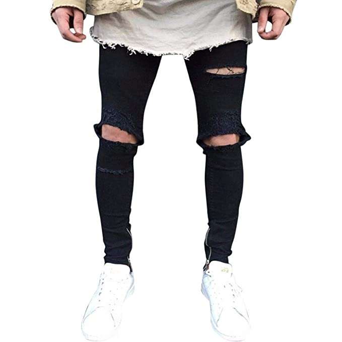 Jeans De Hombre Slim Fit Pantalones De Descoloridos Negros ...