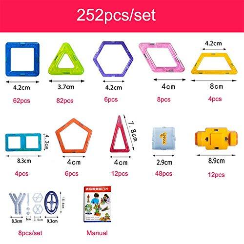 PPH3 Shine 100-298Pcs Blocks Magnetic Designer Construction Set Model & Building Toy Plastic Magnetic Blocks Educational Toys for Kids Gift (252 Pcs)