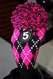 Majek #5 Hybrid Rescue Utility Argyle Pink & Black Golf Headcover Knit Pom Pom Retro Classic Vintage Head Cover