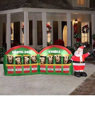 11 ft Inflatable Santa Stable with 8 Reindeer Christmas Holiday by holiday inflatable