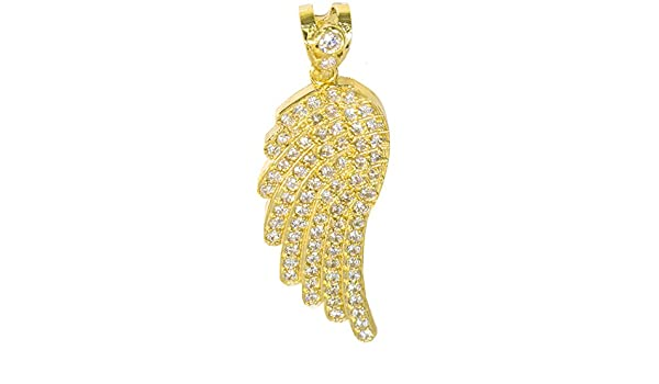 IcedJewels 2.51 cttw Round CZ 10K Gold Angel Wing Micro Pave CZ Stones Necklace Pendant with Open Back