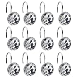 BEAVO Acrylic Fashion Decorative Home Rolling Transparent Shower Curtain Hooks Rhinestones Bathroom Bath Baby Room Bedroom Living Room Decor Set of 12 Rings (Transparent)