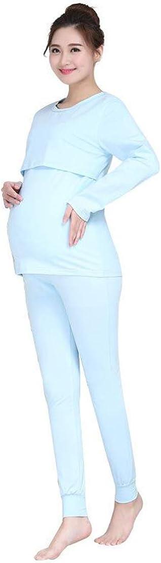 Gaga city Umstandspyjama Damen Stillschlafanzug Langarm Stillshirt und Hose Set Umstandsschlafanzug Baumwolle Herbst Winter Stillpyjama Krankenhaus Umstandsmode Pyjama