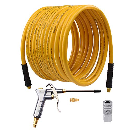 Air Compressor Accessory Kit,Hybrid Air Hose 33ft 1/4' MNPT Air Blow Gun with an Extended Nozzle and FNPT Coupler