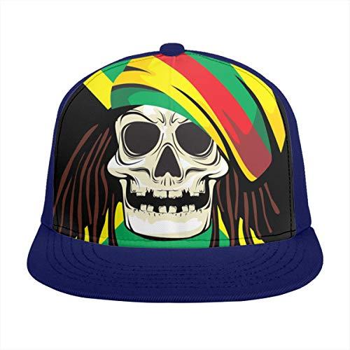 Free-cap2 Rasta Skull Pirate Baseball Cap 3D Print Snapback Unisex Adjustable Hip Hop Dad Hat Casual Team ()
